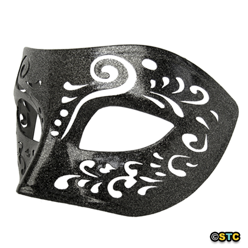 Dream Tale Black Venetian Masquerade Mask with Silver Glitter
