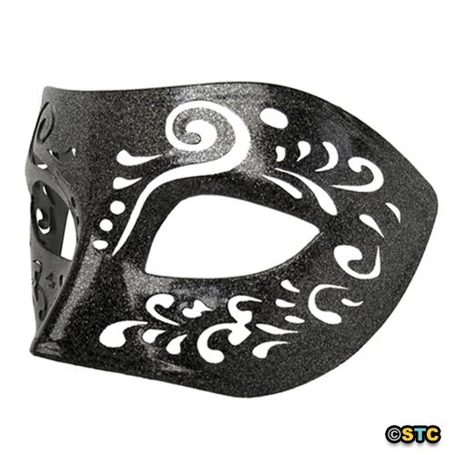Dream Tale Black Venetian Masquerade Mask with Silver Glitter