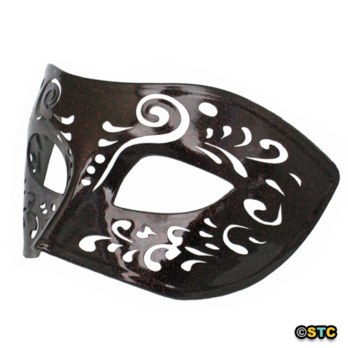 Dream Tale Black Venetian Masquerade Mask with Red Glitter