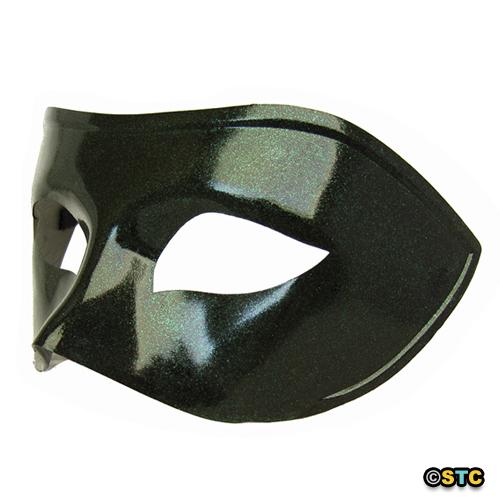 Black Venetian Masquerade Mask with Green Glitter