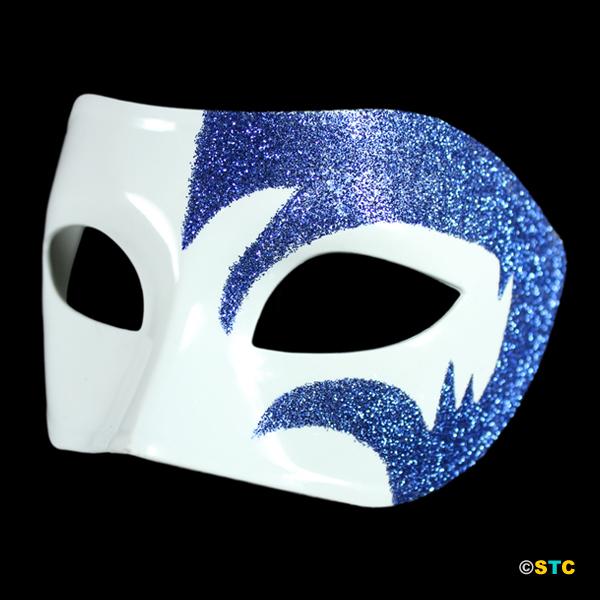 Mystic Blue Glitter & White Venetian Masquerade Mask