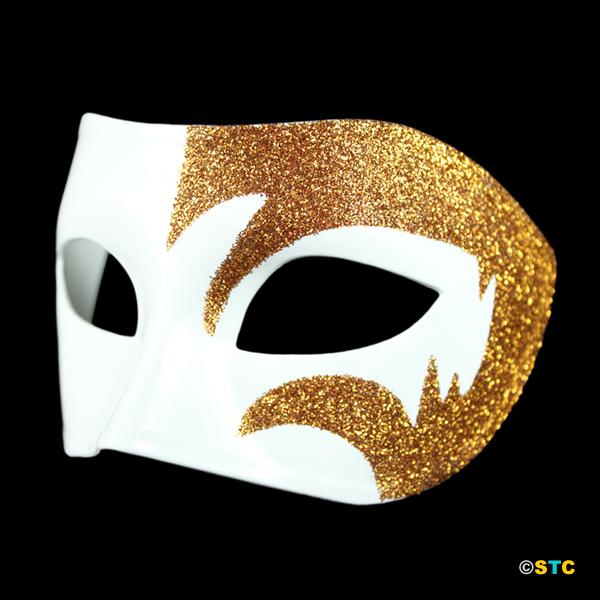 Mystic Gold Glitter & White Venetian Masquerade Mask