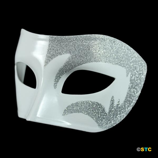Mystic Silver Glitter & White Venetian Masquerade Mask