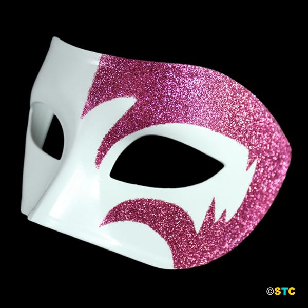 Mystic Pink Glitter & White Venetian Masquerade Mask