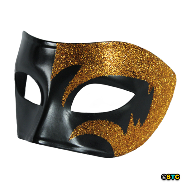 Mystic Gold Glitter & Black Venetian Masquerade Mask