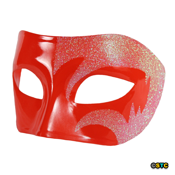 Mystic Holographic Glitter & Red Venetian Masquerade Mask