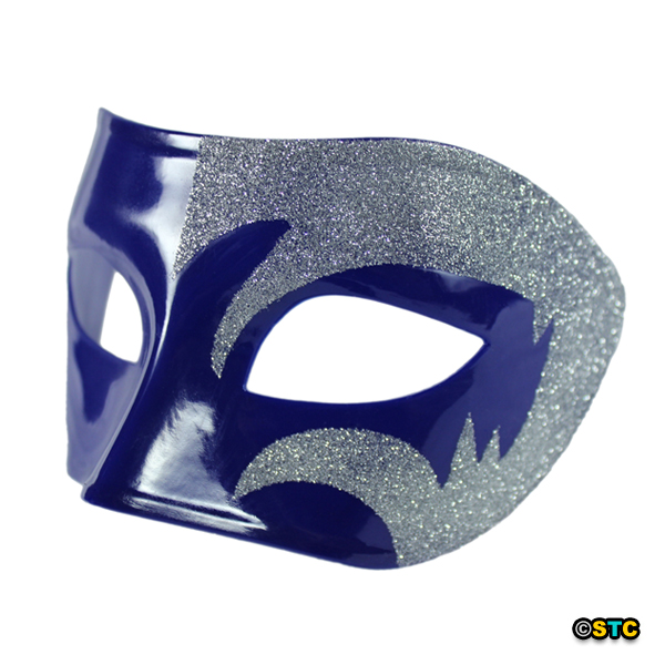 Mystic Silver Glitter & Blue Venetian Masquerade Mask