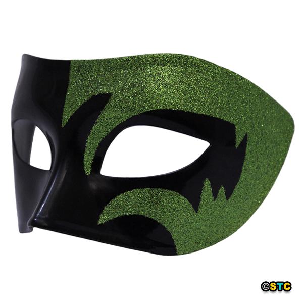 Mystic Green Glitter & Black Venetian Masquerade Mask